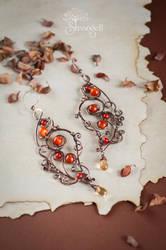 Copper earrings with carnelian - Poppy Honey - by Strangell
