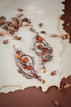 Copper earrings with carnelian - Poppy Honey -