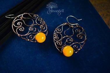 Copper earrings - Sunny Wind - by Strangell