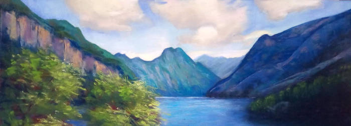Norwegian fjord (pastel painting) by mislyd