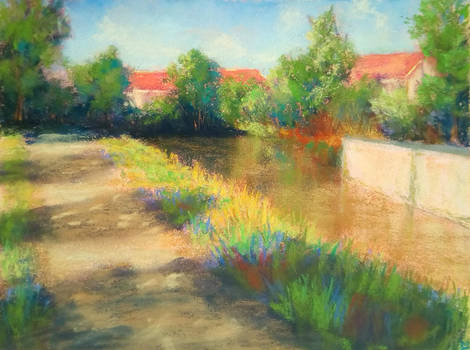 Stroll by the river (pastel painting) SOLD