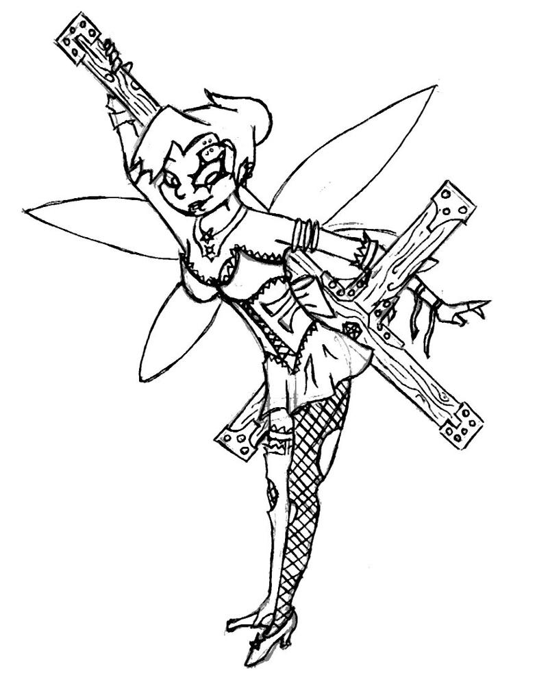 emo tinkerbell coloring pages - photo#13
