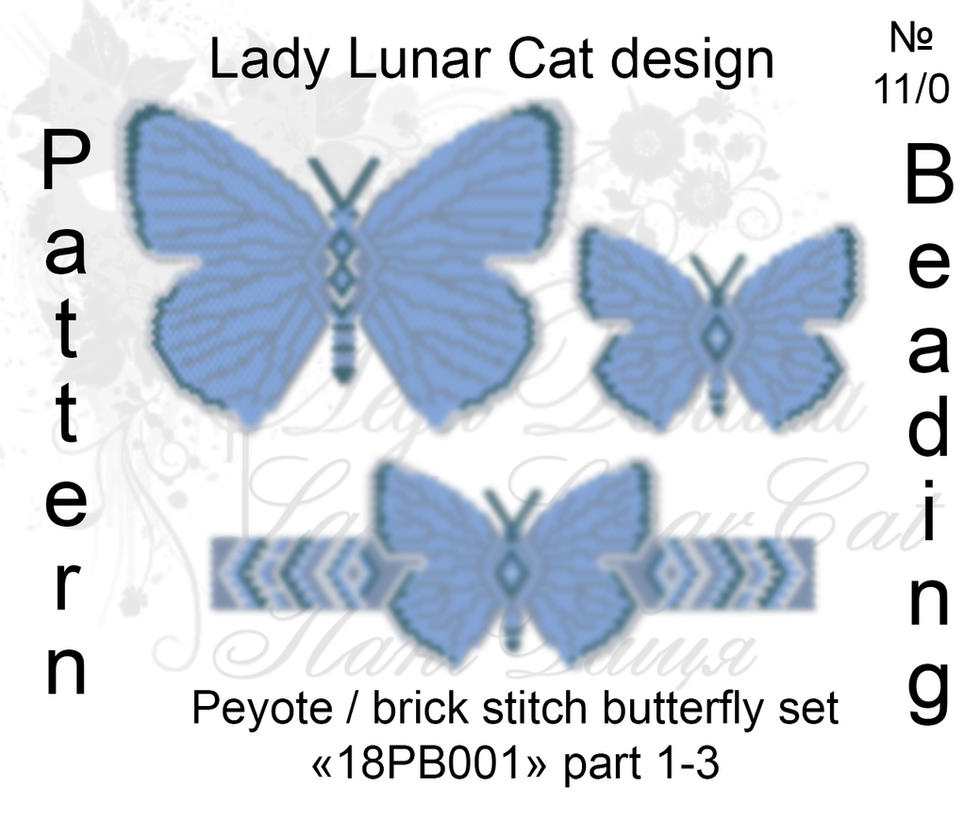 Peyote/ Brick stitch Polyommatus icarus 18PB001 by LadyLunarCat