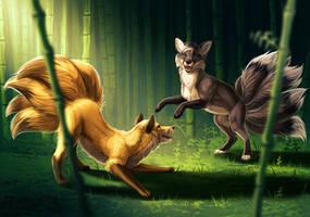 Playful Kitsunes by little-owlette
