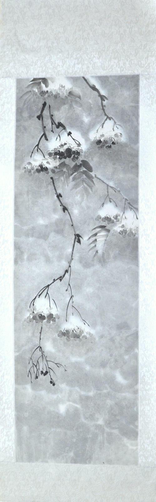 Sumie Rowan under snow, silk scroll by bsshka