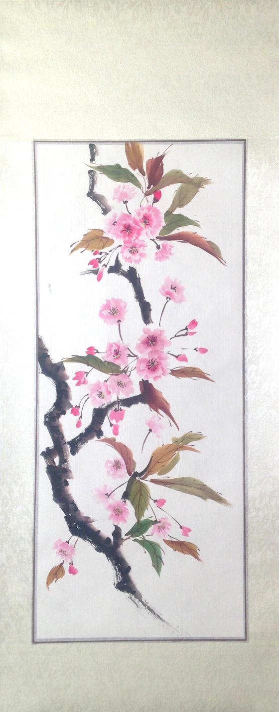 Sumie sakura, silk scroll by bsshka