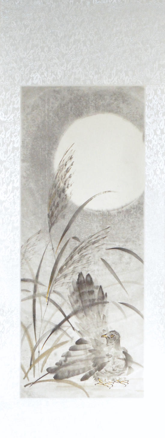 Sumie cuckoo and miscanthus, silk scroll by bsshka