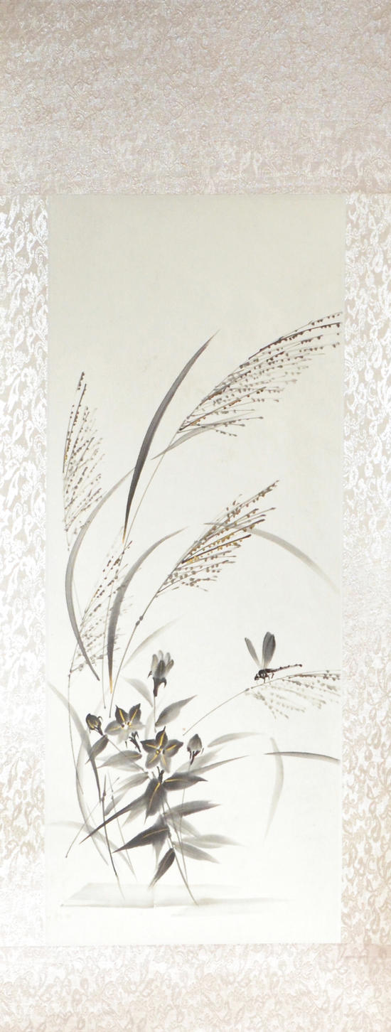 Sumie autumn grasses and dragonfly by bsshka