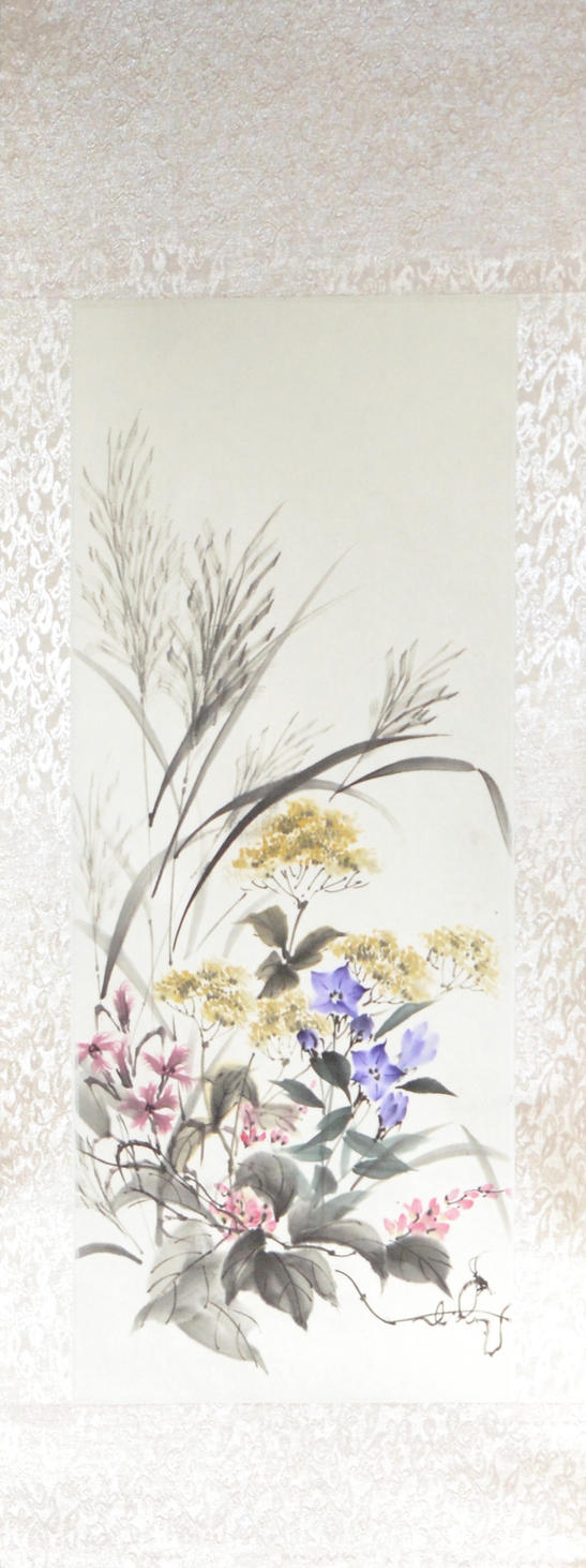 Sumie autumn grasses, silk scroll by bsshka