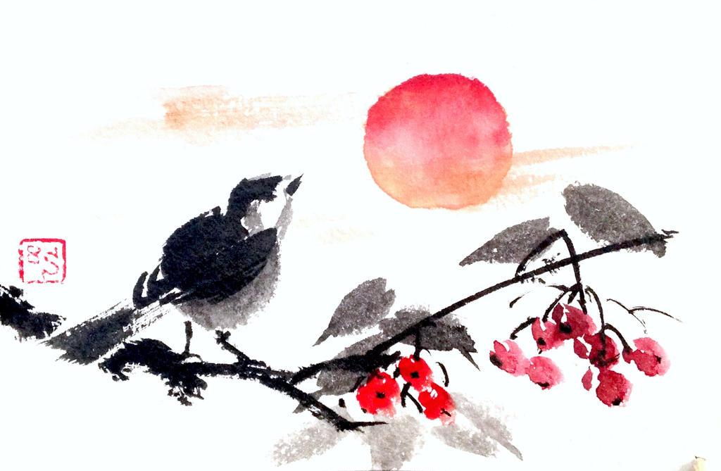 Sumie bird and rowan (etegami) by bsshka
