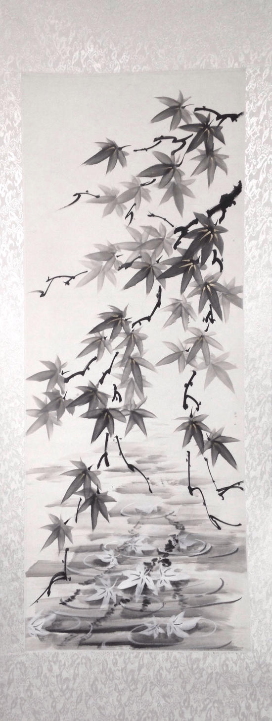Sumie momiji and reflection (silk scroll) by bsshka
