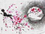 [Sumie] Sakura in the wind