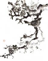 [Sumie] Bird on plum by bsshka