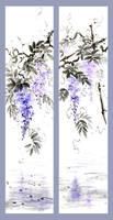 [Sumie] Wisteria scrolls (two versions)