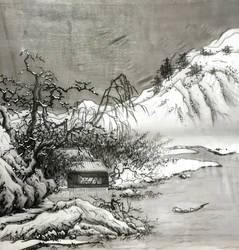 [Sei] Winter landscape on silk by bsshka