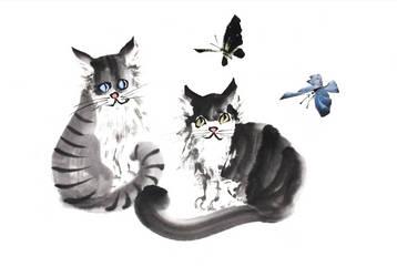 [Sei] Cats and butterflies by bsshka