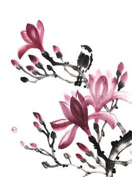 [Sumie] Magnolia and sparrow