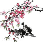 [Xieyi] Chinese perches and peach blossoms