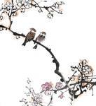 [Xieyi] Sparrows on a plum