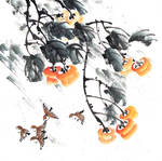 [Xieyi] Sparrows and persimmon in the wind