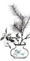 [Xieyi] Still life with pine-tree and camellia