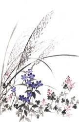 [Sumie] Autumn grasses