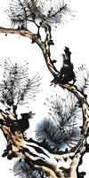 [Xieyi] Starlings on pine-tree