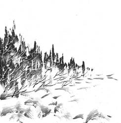 [Sumie] Winter landscape