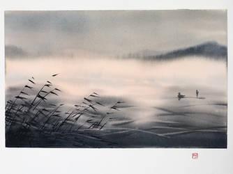[Watercolor] Misty lake