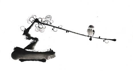 [Sumie] Bird on a plum