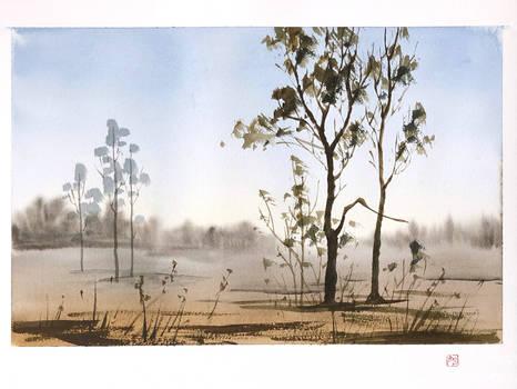 [Watercolor] Spring landscape