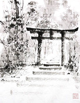 [Sumie] Landscape with torii