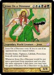 Jesus On A Dinosaur by LapisRabbitComics