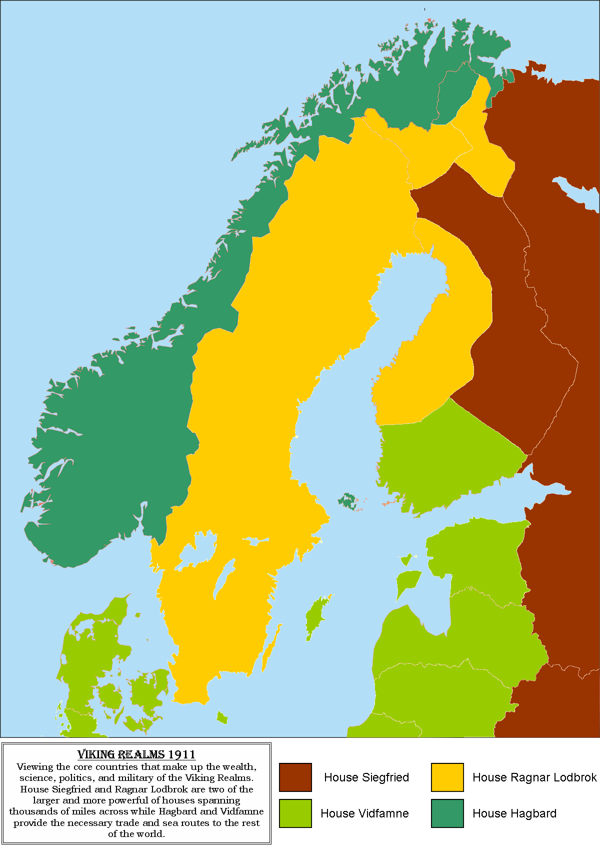 Commander's Hoax Viking Realm Political Map 1911 by