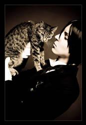 Sebastian and cat by general-kuroru