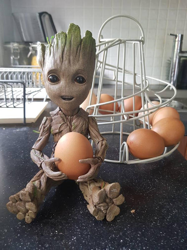 baby groot playing with eggs  by yorkshirepudding1990