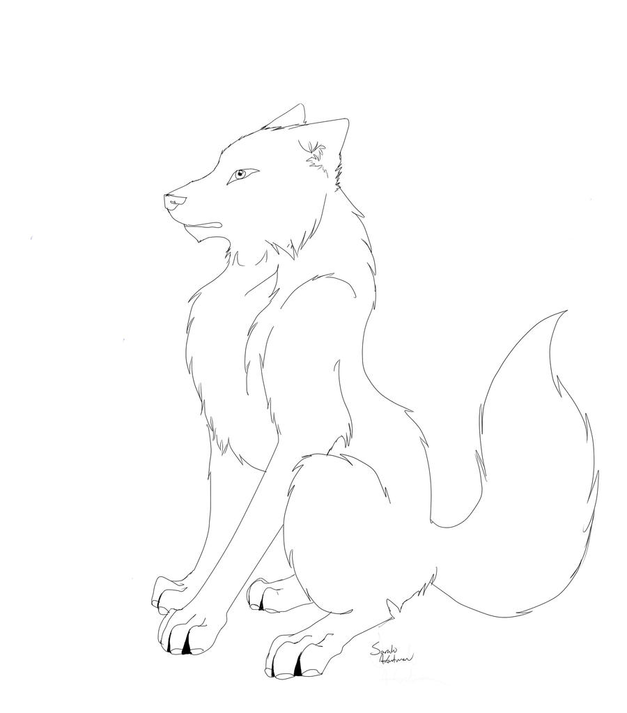 Wolf sitting down side view - photo#31