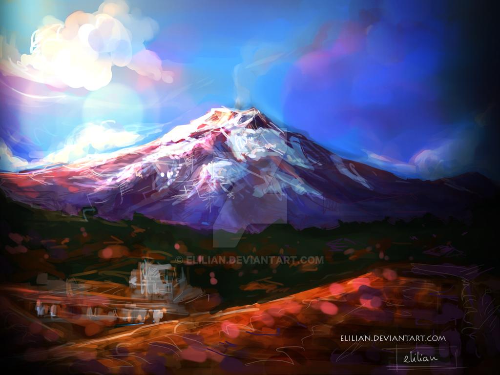 Mt. Etna - landscape painting by Elilian