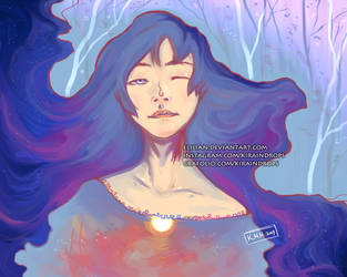 The colours of the universe merged with her. by Elilian