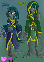 Zykia and Zephyr - Moonblood OCs (PinkArtsy) by CreativePlanetDA