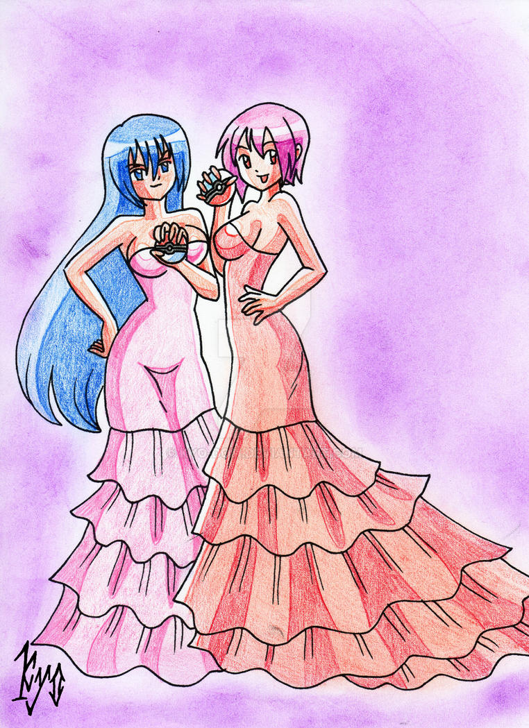 Sadie y Miyami in a lovely dress Pokemon OC by kyo-domesticfucker