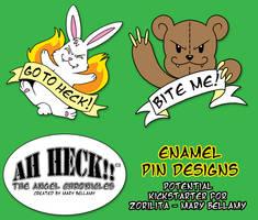 Ah Heck!! Enamel Pins by MaryBellamy
