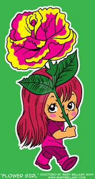 Digitized Rose Girl Vintage Sticker