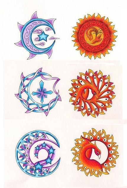 Moons and suns by tattoosavage on deviantart for 3x3 tattoo ideas