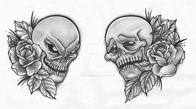 happy sad drama skulls by tattoosavage on deviantart. Black Bedroom Furniture Sets. Home Design Ideas