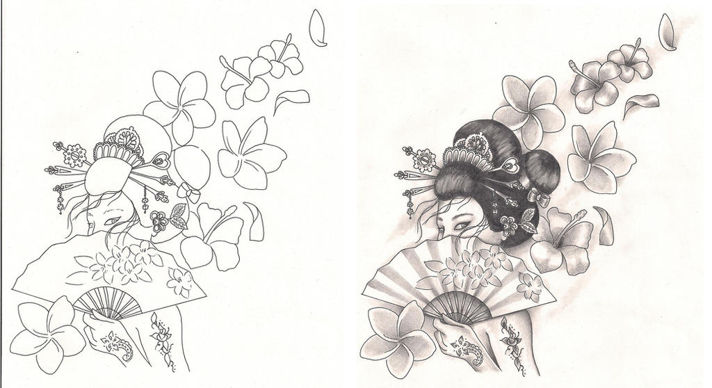 Freebies Tattoo Designs Geisha With Flowers By