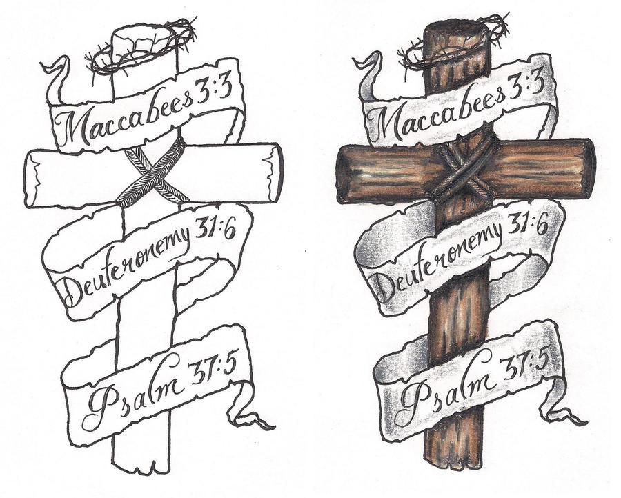 freebies cross banners tattoo design by tattoosavage on