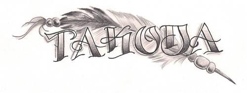 Freebies Takoda Feather Tattoo Design by TattooSavage
