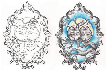 Freebies Owls Cameo Tattoo Design by TattooSavage