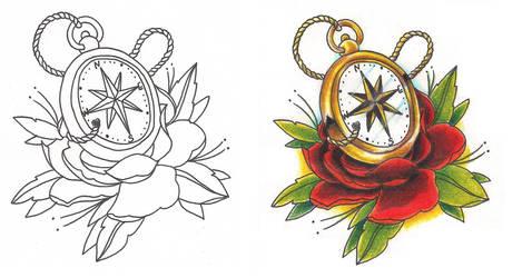 Freebies Compass Tattoo Design by TattooSavage